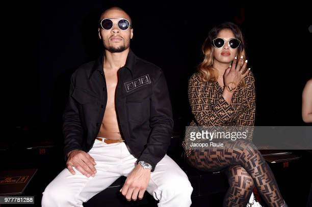 Chris Eubank Jr and MIA attend the Fendi show during Milan Men's Fashion Week Spring/Summer 2019 on June 18 2018 in Milan Italy