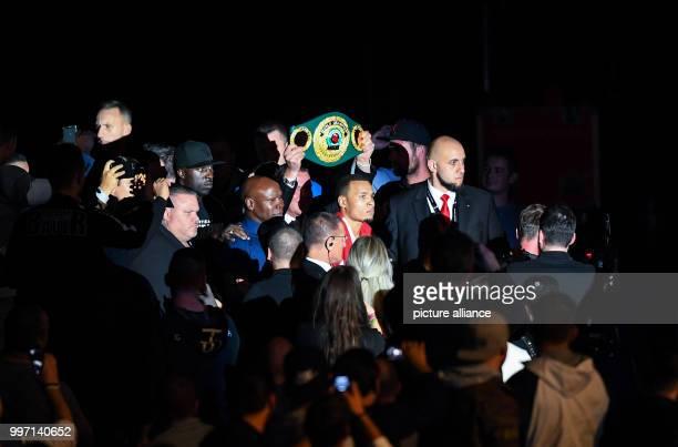 Chris Eubank Jr arrives at the World Boxing Super Series supermiddleweight quarter final bout between Eubank Jr and Yildirim in StuttgartGermany...