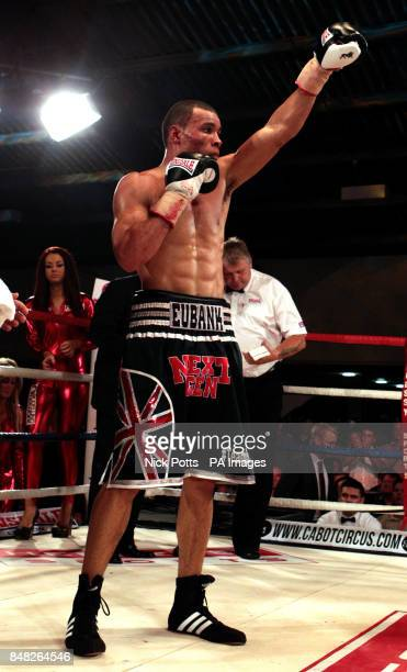 Chris Eubank Jr celebrates beating Terry Carruthers at the Hand Arena Clevedon North Somerset