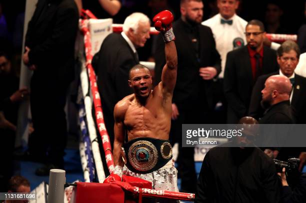 Chris Eubank Jr celebrates victory after the IBO World Super Middleweight Title fight between James DeGale and Chris Eubank Jr at The O2 Arena on...