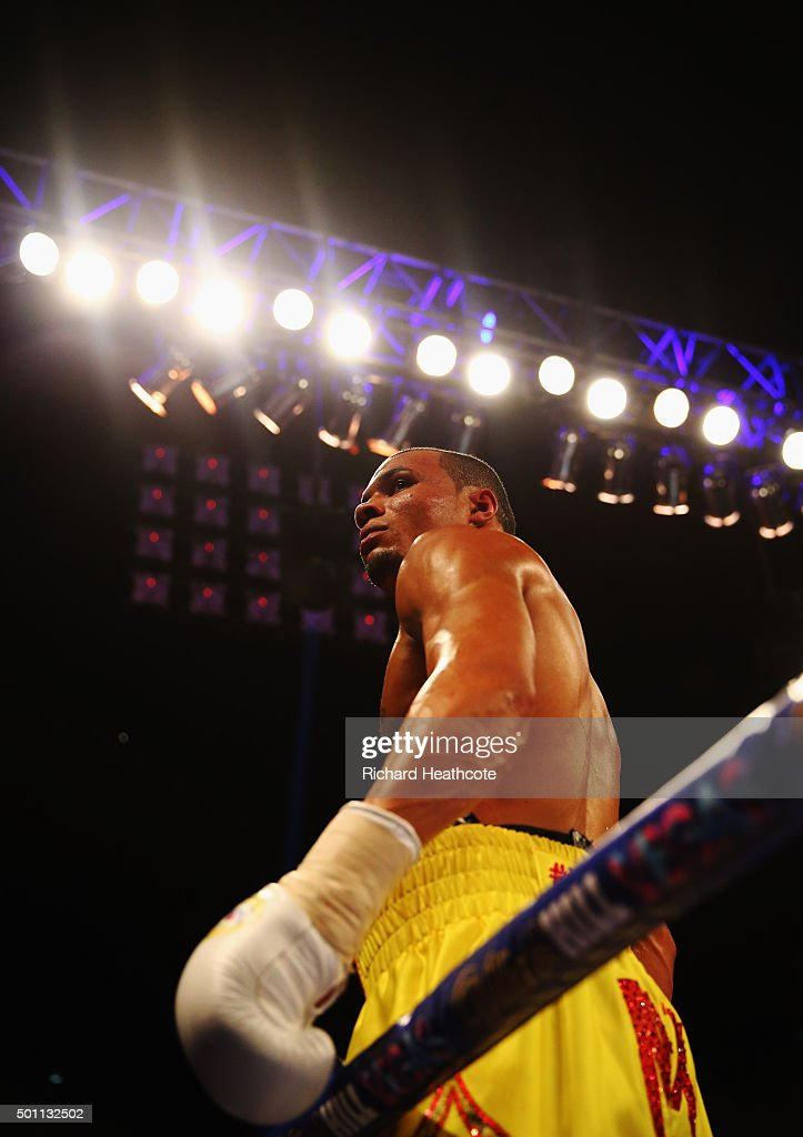 Chris Eubank Jr celebrates victory over Gary O'Sullivan after the WBA Middleweight final eliminator contest at The O2 Arena on December 12, 2015 in London, England.