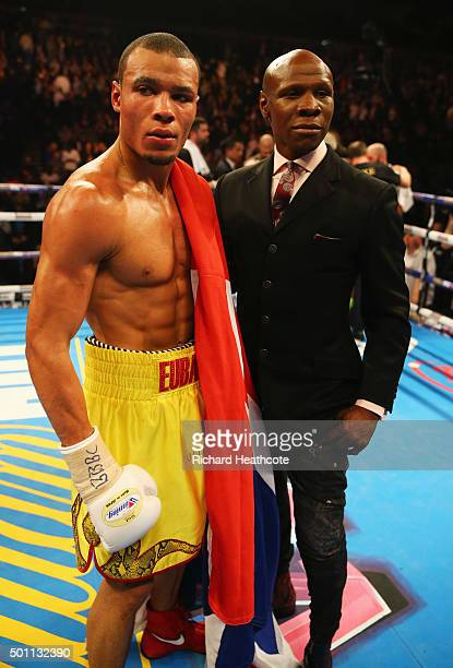 Chris Eubank Jr celebrates victory over Gary O'Sullivan alongside father Chris Eubank after the WBA Middleweight final eliminator contest at The O2...