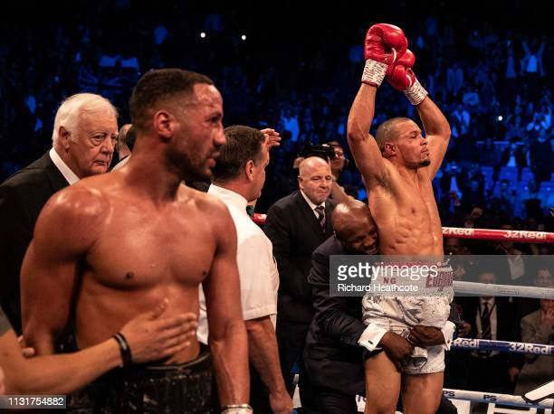 Chris Eubank Jr celebrates victory with his dad Chris Eubank after the IBO World Super Middleweight Title fight between James DeGale and Chris Eubank...