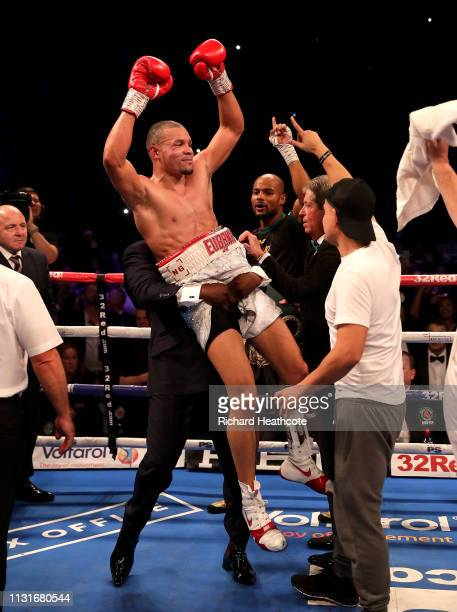 Chris Eubank Jr celebrates victory with his team after the IBO World Super Middleweight Title fight between James DeGale and Chris Eubank Jr at The...