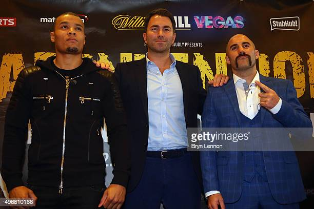 Chris Eubank Jr Eddie Hearn and Spike O'Sullivan pose for a photo during a press conference ahead of the fight between Chris Eubank Jr and Spike...