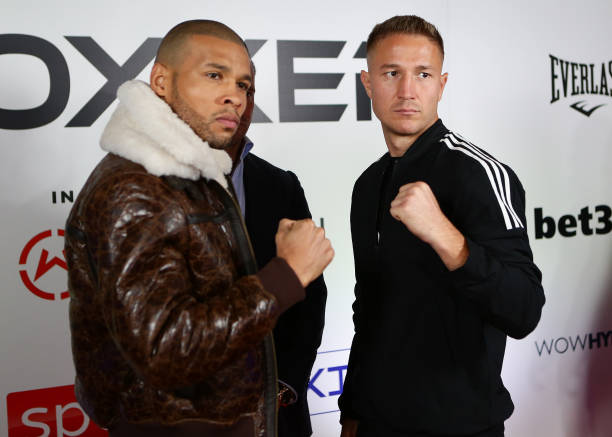 Chris Eubank Jr faces off against Anatoli Muratov during their media day ahead of the middleweight fight between Chris Eubank Jr and Anatoli Muratov...