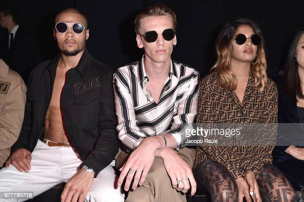 Chris Eubank Jr Jamie Campbell Bowerm and MIA attend the Fendi show during Milan Men's Fashion Week Spring/Summer 2019 on June 18 2018 in Milan Italy