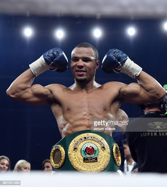 Chris Eubank Jr of Great Britain after his victory at the super middleweight quarterfinals of the IBO Boxing World Cup in Stuttgart Germany 7 October...