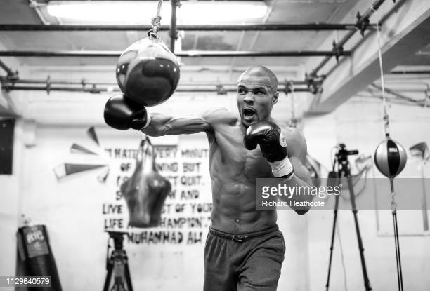 Chris Eubank Jr trains during an open media workout at Brighton and Hove Boxing Club on February 14 2019 in London England
