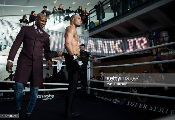Chris Eubank Jr with his father Chris Eubank Snr during a public work out at National Football Museum on February 13 2018 in Manchester England