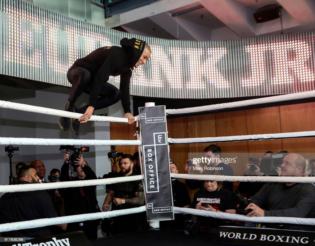 Chris Eubank Jr with his father Chris Eubank Snr during a public work out at National Football Museum on February 13, 2018 in Manchester, England.