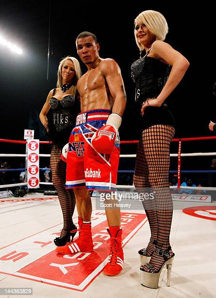Chris Eubank Junior celebrates victory over Harry Matthews during their Middleweight bout at Hillsborough Leisure Centre on May 12 2012 in Sheffield...