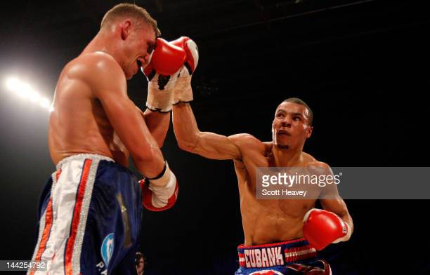 Chris Eubank Junior in action with Harry Matthews during their Middleweight bout at Hillsborough Leisure Centre on May 12 2012 in Sheffield England