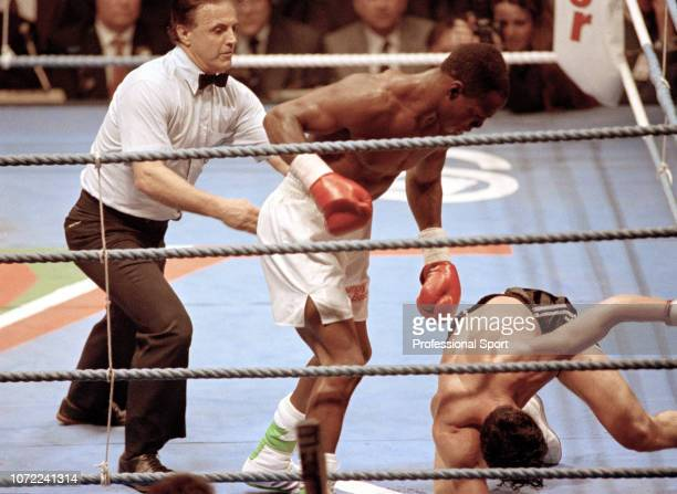 Chris Eubank knocks out Gary Stretch during the WBO Middleweight Title fight at the Olympia Grand Hall on April 18 1991 in London England