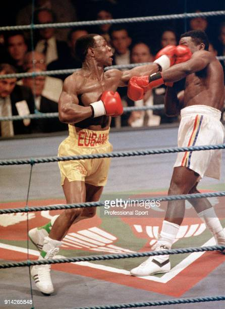 Chris Eubank of Great Britain in action against Lindell Holmes of the USA during their WBO World super middleweight title fight at the Earls Court...