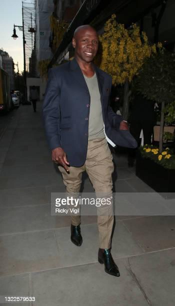 Chris Eubank seen having dinner at Scott's restaurant in Mayfair on June 08, 2021 in London, England.