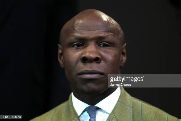 Chris Eubank speaks during a press conference ahead of their IBO World Super Middleweight Title fight at the Intercontinental Hotel on February 21...