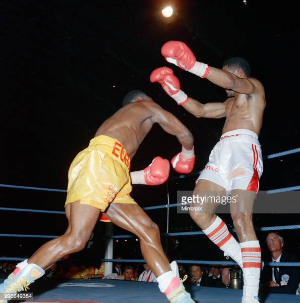 Chris Eubank vs Michael Watson for the WBO middleweight title at Earls Court Exhibition Centre London England Eubanks won by majority decision over...