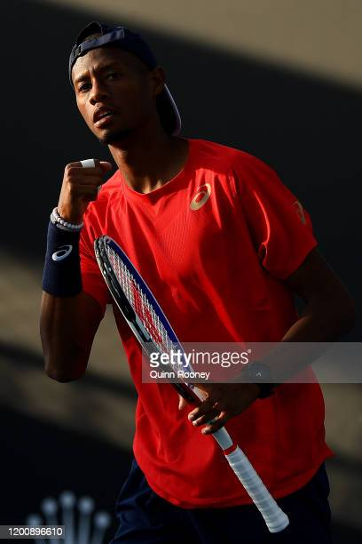 Chris Eubanks of the United States celebrates after winning a point during his Men's Singles first round match against Peter Gojowczyk of Germany on...