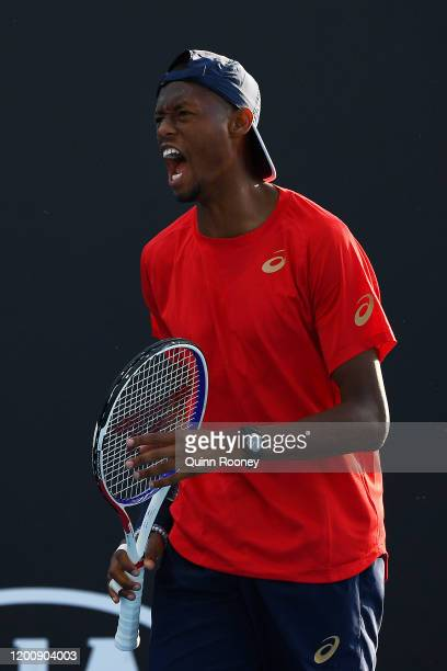 Chris Eubanks of the United States reacts during his Men's Singles first round match against Peter Gojowczyk of Germany on day two of the 2020...