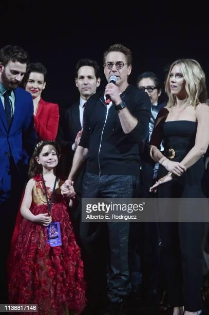 "Chris Evans, Alexandra Rabe, Robert Downey Jr., and Scarlett Johansson speak onstage the Los Angeles World Premiere of Marvel Studios' ""Avengers:..."