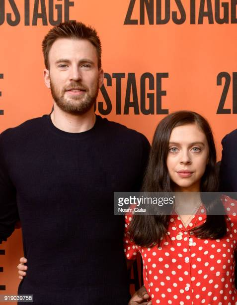 Chris Evans and Bel Powley attend the 'Lobby Hero' cast meet and greet at Sardi's on February 16 2018 in New York City