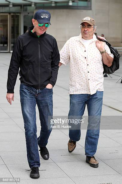 Chris Evans and Danny Baker seen at the BBC, Portland Place on July 6, 2016 in London, England.