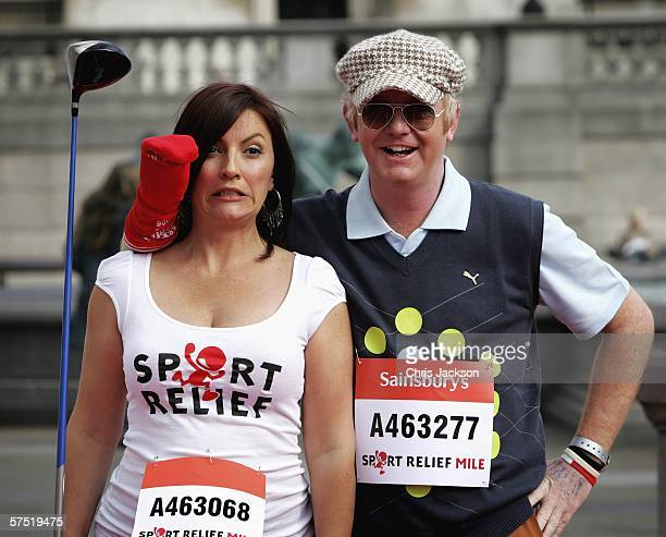 Chris Evans and Davina McCall help to Launch Sport Relief in Trafalgar Square on May 3 2006 in London England Sport Relief is organised by Comic...