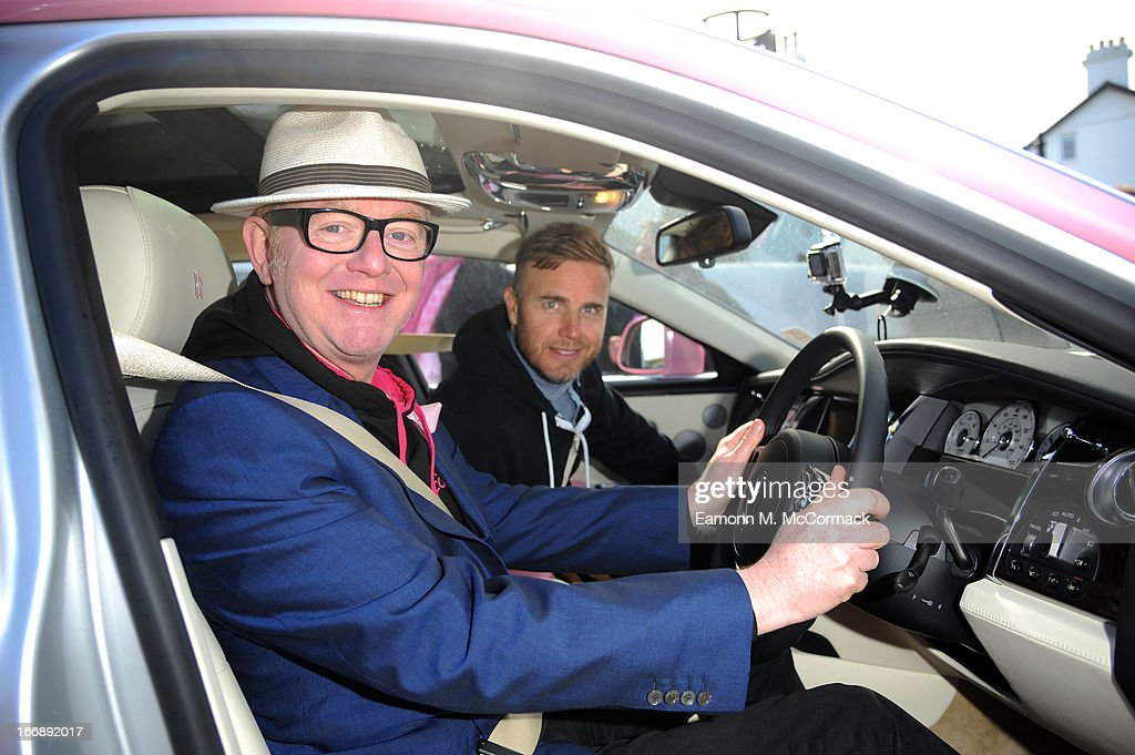 Chris Evans and Gary Barlow launch FAB1 Million by driving from Land's End to John O'Groats on April 18, 2013 in Land's End, England. FAB1 Million aims to raise one million pounds for Breast Cancer Care using a bespoke pink Rolls Royce Ghost with the original FAB1 Thunderbirds number plate, which is available for hire.