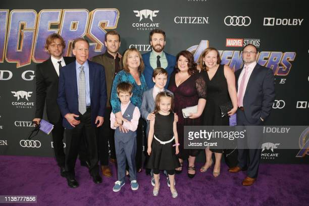 """Chris Evans and guests attend the Los Angeles World Premiere of Marvel Studios' """"Avengers: Endgame"""" at the Los Angeles Convention Center on April 23,..."""