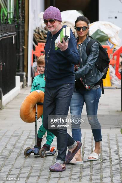 Chris Evans and his wife Natasha Shishmanian seen leaving BBC Radio 2 after announcing they are expecting twins sighting on April 17 2018 in London...
