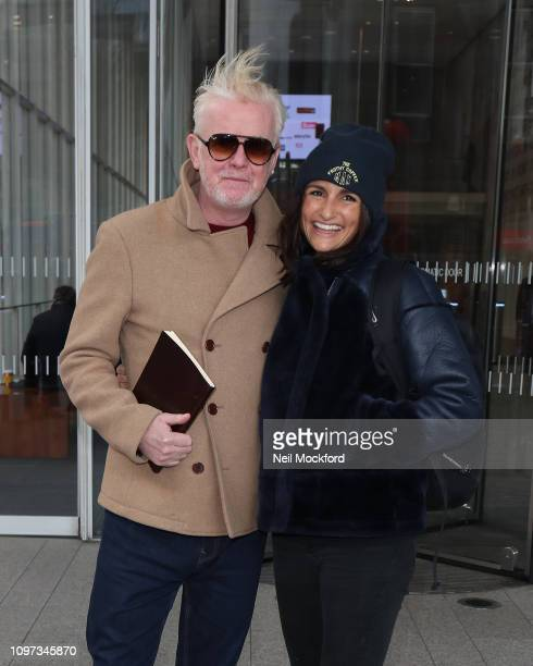 Chris Evans and his wife Natasha Shishmanian seen leaving Virgin Radio after his first radio show on January 21 2019 in London England