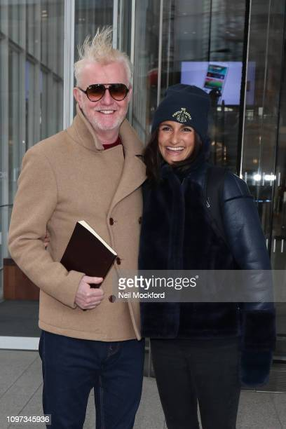 Chris Evans and his wife Natasha Shishmanian seen leaving Virgin Radio after his first radio show on January 21, 2019 in London, England.