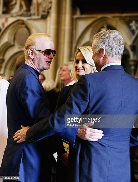 Chris Evans and his wife Natasha Shishmanian talk with Rory Bremner following a memorial service for the late Sir Terry Wogan at Westminster Abbey on...