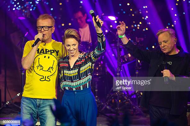 Chris Evans and La Roux AKA Ellie Jackson with Bernard Sumner of New Order during the recording of 'TFI Friday' New Year's Eve special at the...
