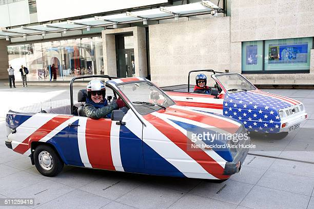Chris Evans and Matt Le Blanc seen filming scenes for Top Gear at the BBC Portland Place on February 19 2016 in London England