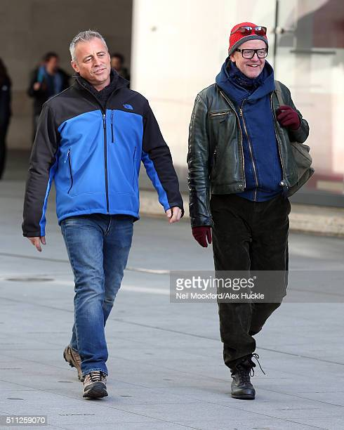 Chris Evans and Matt LeBlanc seen filming Top Gear outside BBC Broadcasting House on February 19 2016 in London England