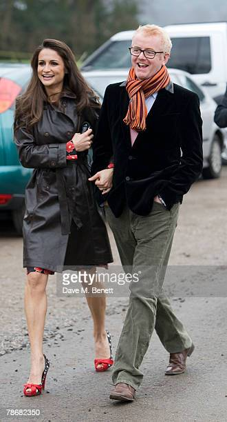 Chris Evans and Natasha Evans attend the wedding of Billie Piper and Laurence Fox at the Parish Church of St. Mary on December 31, 2007 in...