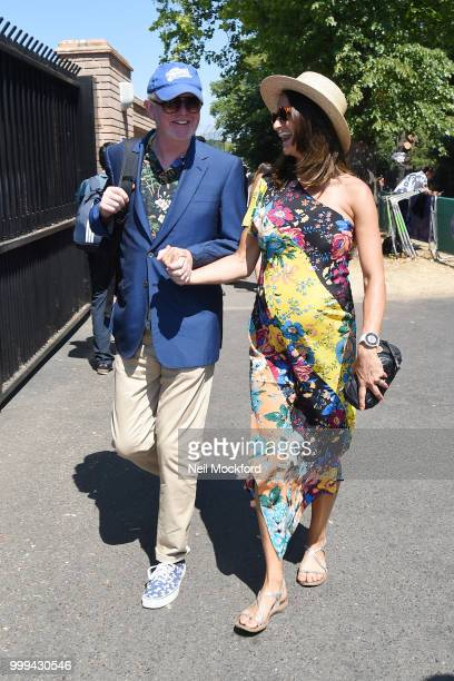 Chris Evans and Natasha Shishmanian arrive at Wimbledon Tennis for Men's Final Day on July 15 2018 in London England