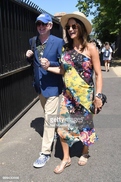 Chris Evans and Natasha Shishmanian arrive at Wimbledon Tennis for Men's Final Day on July 15, 2018 in London, England.