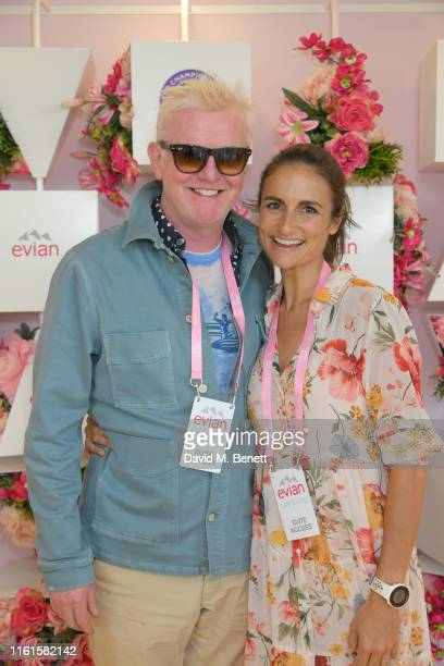 Chris Evans and Natasha Shishmanian at the evian Live Young suite at The Championships Wimbledon 2019 on July 12 2019 in London England