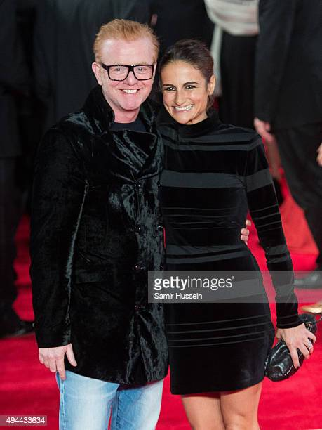 """Chris Evans and Natasha Shishmanian attend the Royal Film Performance of """"Spectre"""" at Royal Albert Hall on October 26, 2015 in London, England."""