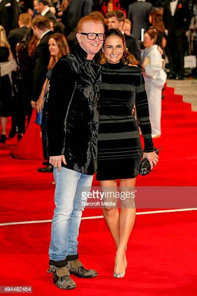 Chris Evans and Natasha Shishmanian attend the Royal Film Performance of 'Spectre' at Royal Albert Hall on October 26 2015 in London England...