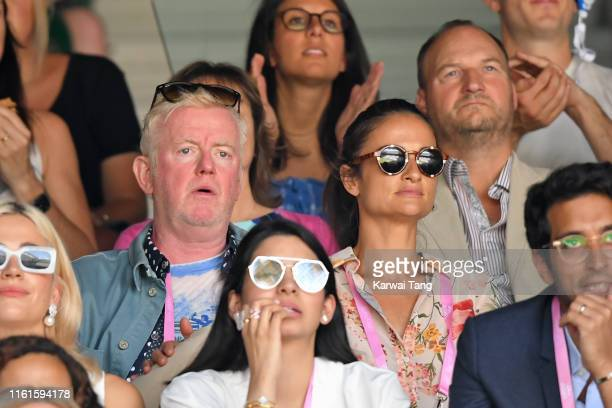 Chris Evans and Natasha Shishmanian on Centre Court during day eleven of the Wimbledon Tennis Championships at All England Lawn Tennis and Croquet...