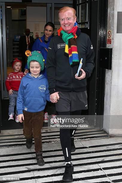 Chris Evans and Natasha Shishmanian seen at BBC Radio 2 on December 18, 2015 in London, England.