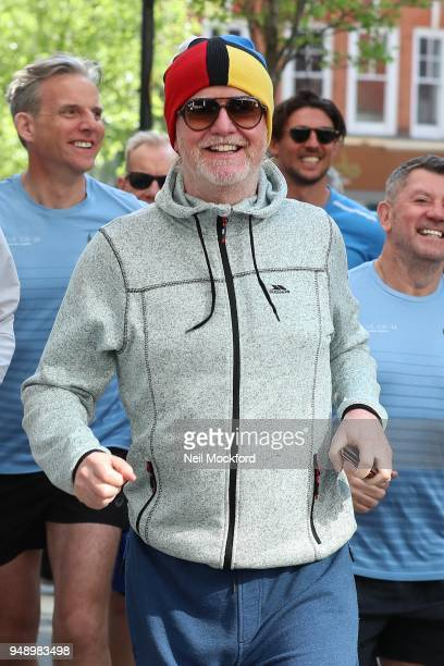 Chris Evans and other runners seen outsiode the BBC Radio Studios ahead of this weekend's London Marathon on April 20 2018 in London England