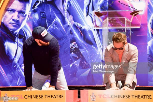 Chris Evans and Robert Downey Jr. Pose at the Marvel Studios' 'Avengers: Endgame' Cast Place Their Hand Prints In Cement At TCL Chinese Theatre IMAX...