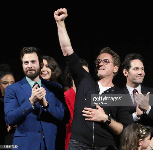 """Chris Evans and Robert Downey Jr. Speak onstage during the Los Angeles World Premiere of Marvel Studios' """"Avengers: Endgame"""" at the Los Angeles..."""