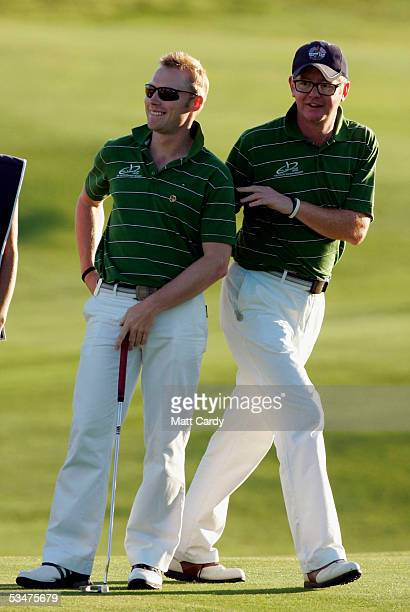 Chris Evans and Ronan Keating at The AllStar Cup Celebrity Golf tournament at the Celtic Manor Resort on August 28 2005 Newport Wales The cup the...