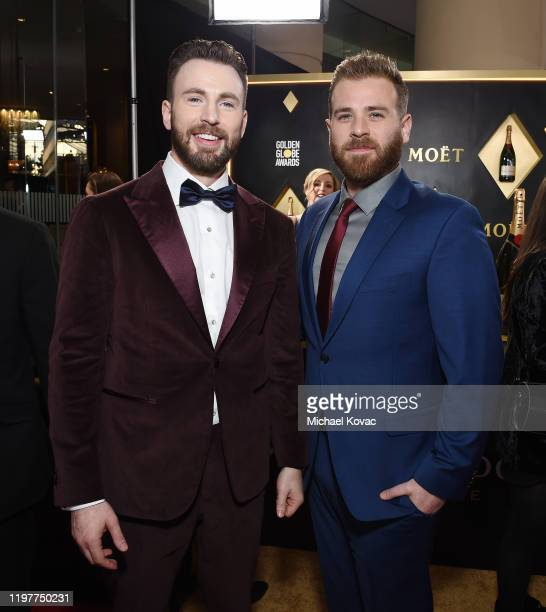 Chris Evans and Scott Evans attend the 77th Annual Golden Globe Awards at The Beverly Hilton Hotel on January 05, 2020 in Beverly Hills, California.